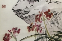14. Three Birds on Cliff Top with Red Orchids_1981_96x44cm