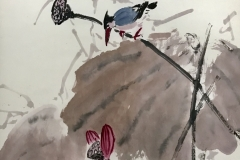 6.Kingfisher and Red Lotus_1982_68x45cm